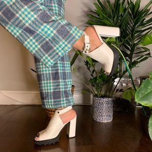 Platform White Strap Heels